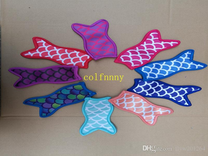 50 unids / lote Fish Mermaid Neoprene Popsicle Holders Pop Ice Mangas Congelador Pop Holders 16x8.5 cm Para Niños Herramientas de Cocina de Verano