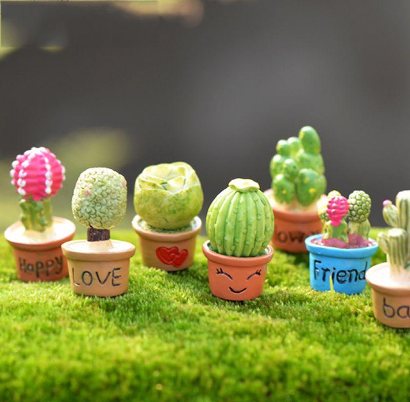 7pcs Kawaii Cactus Flower Pot Fairy Garden Terrarium Statue Miniatures Bonsai Resin Craft Gnome Zakka Dollhouse Home Accessories