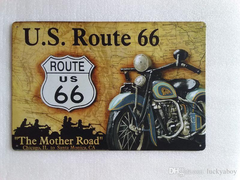 US Route 66 Lady With Motor-Cycle tin metal sign MAN CAVE brand new
