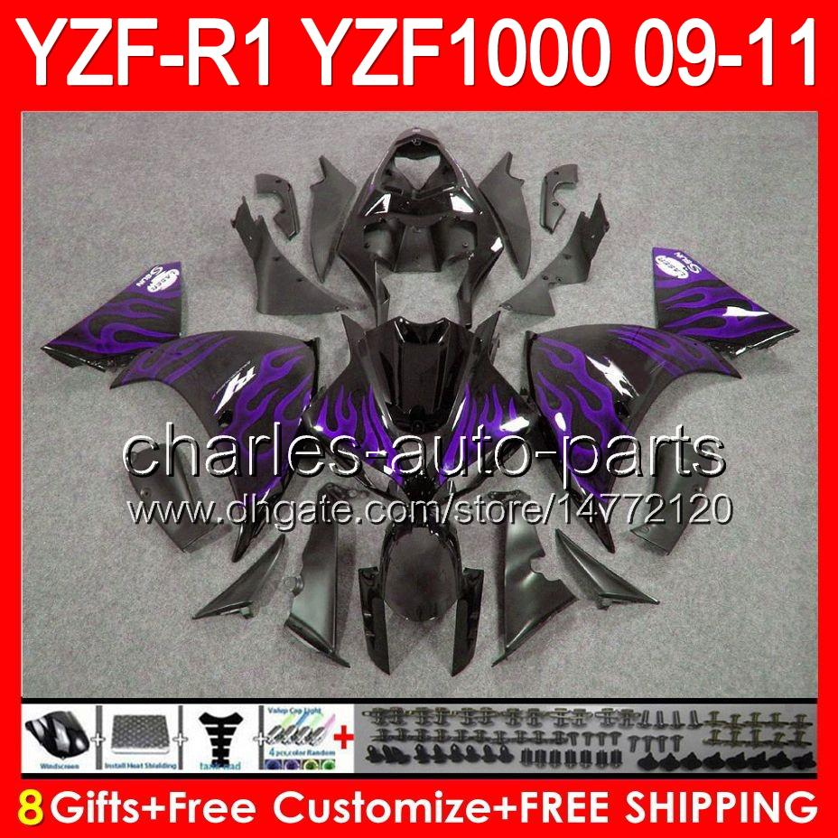 8gifts Body For YAMAHA YZFR1 09 10 11 YZF-R1 09-11 purple flames 95NO63 YZF 1000 YZF R 1 YZF1000 YZF R1 2009 2010 2011 gloss black Fairing