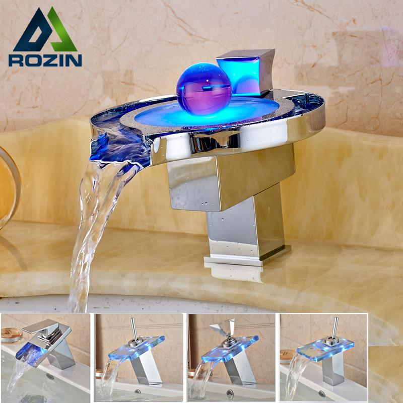 Wholesale- LED RGB Colors Basin Sink Faucet Deck Mount Waterfall Brass Bathroom Vessel Sink Mixer Tap Chrome Finish