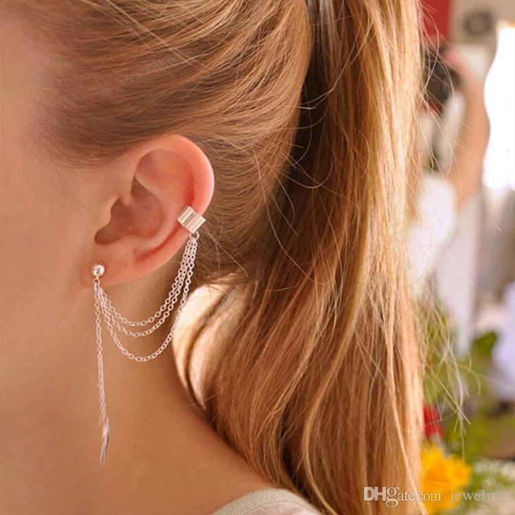 Women Girls Earring Jewelry Fashion Leaf Tassel Earrings Elegant Gold Silver Plated Ear Cuff Studs Party jewelry
