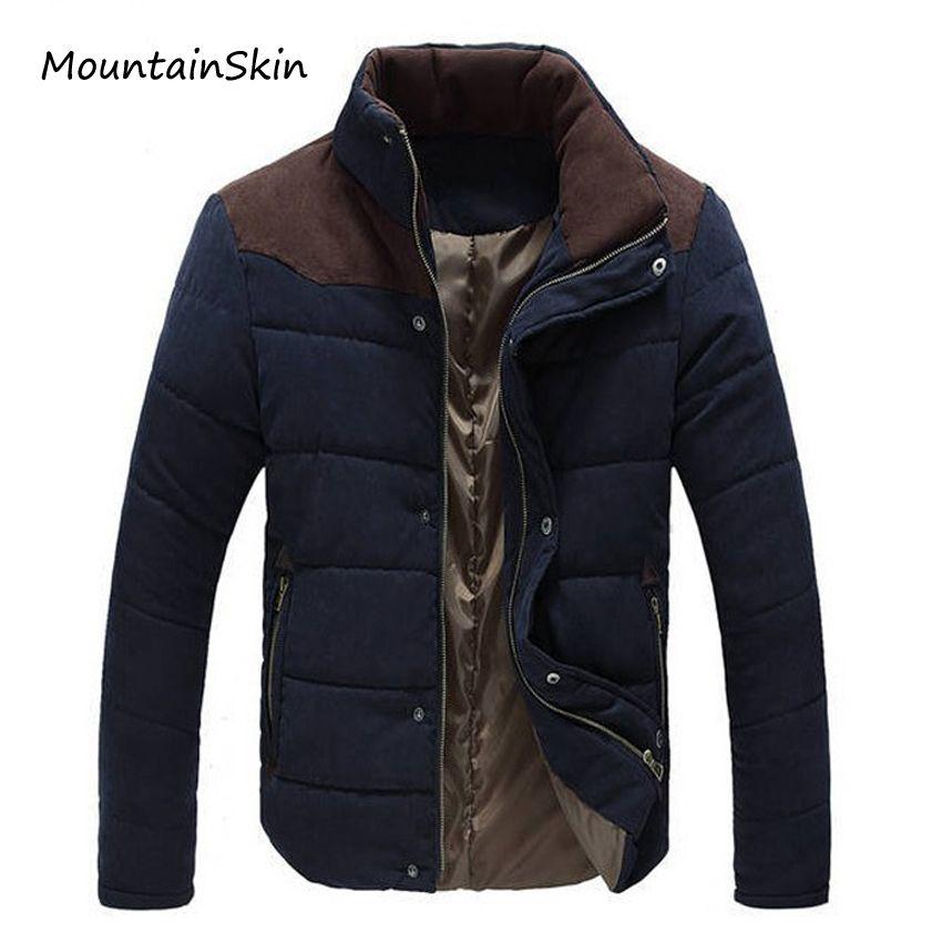 Mountainskin Kış Erkek Ceket Sıcak Kalın Erkekler Parkas Moda Termal Katı Erkek Palto Casual Aşağı Pamuk Giyim LA144