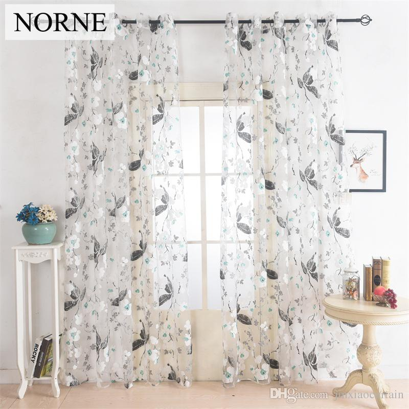 Norne Floral Tulle Voile Sheer Curtains Panel Drape For Living Room The  Bedroom Kitchen Modern Voile Curtain Window Fabric Decoration Cheap Drapes  ...