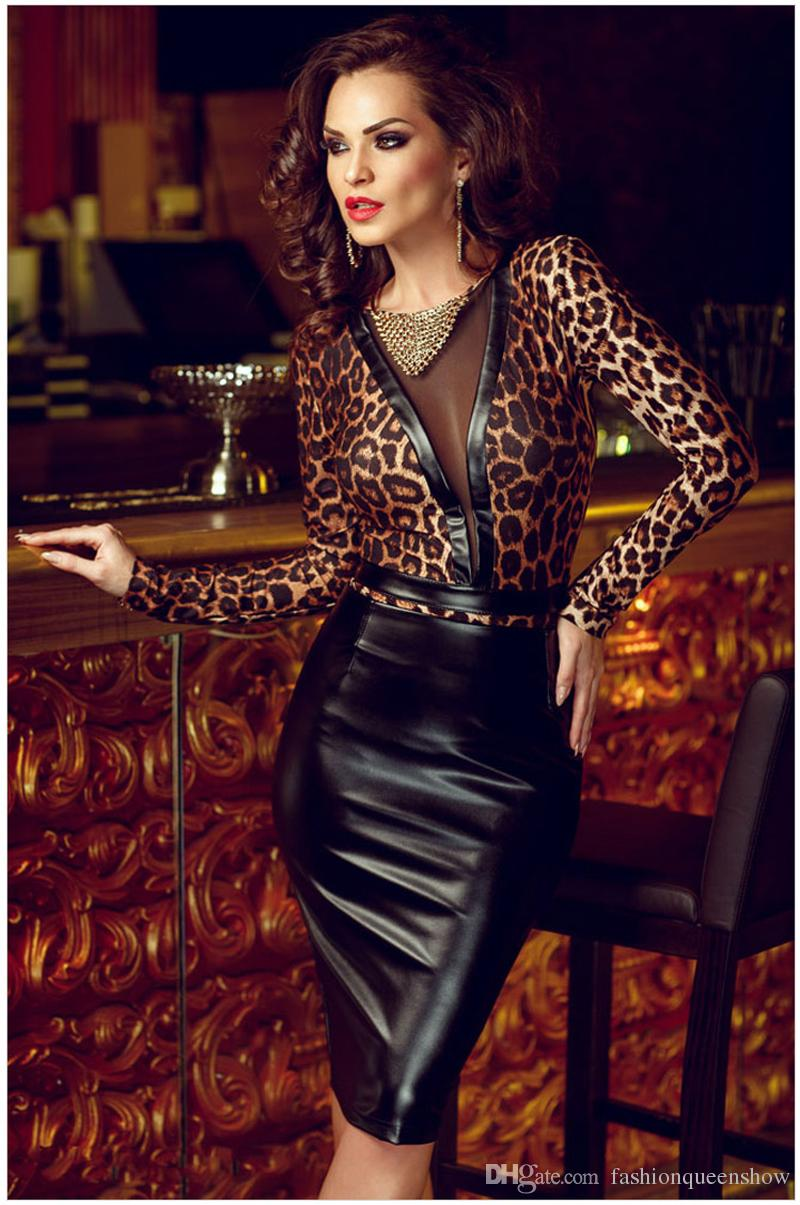 Sexy Leopard Print Dress Women Long Sleeve Mesh Patchwork Vestido Faux Leather See Through Dress Party Clubwear