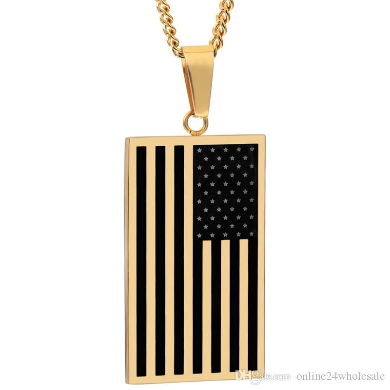 US Flag Necklaces & Pendants Gold Color Stainless Steel USA American Chain For Men/Women Gift Hot Fashion Punk Style Jewelry 2017 Wholesale