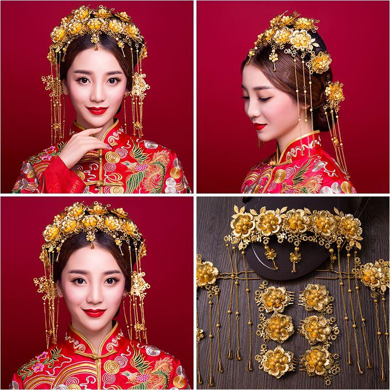 Woman headdress hair Lomen bright golden hair Chinese costume luxury bride wedding show clothing headwear 6210787 wo