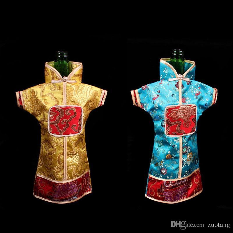 Vintage style chinois sacs à vin de Noël Bouteille Couverture Décoration de table brocart de soie Pouch adapter 750ml Bouteille de vin 10pcs / lot Sac