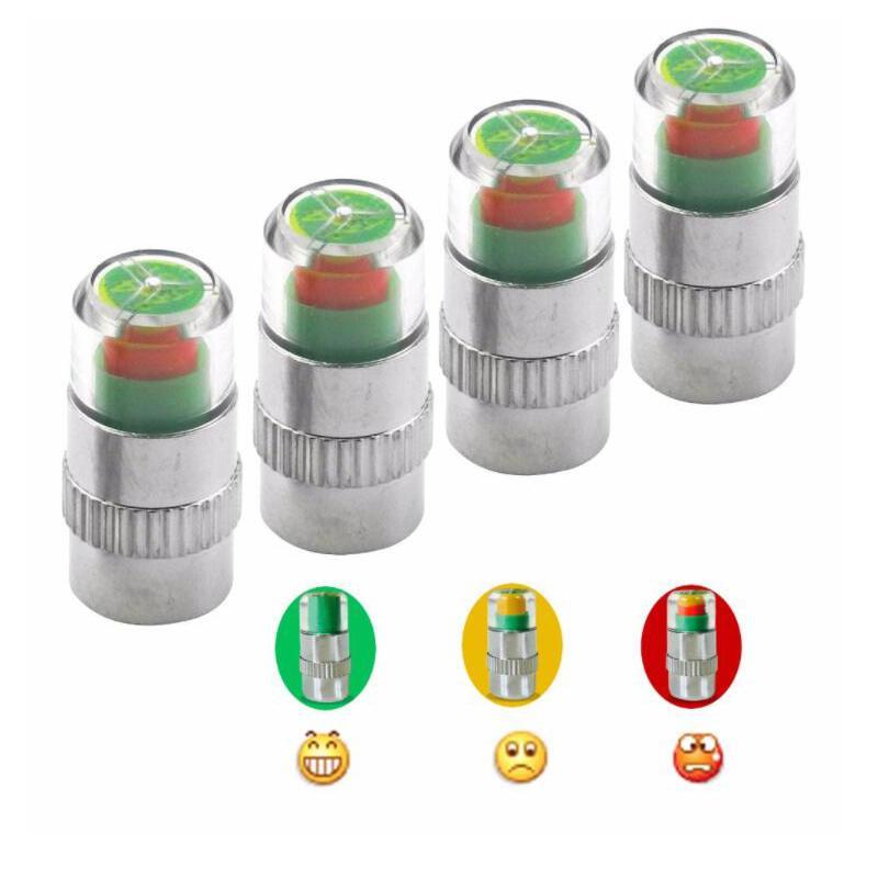 4PCS Visiable 2.4bar 36PSI 자동차 자동 타이어 공기 경고 경고 타이어 압력 센서 모니터 밸브 캡 표시기 눈 경고 진단 키트