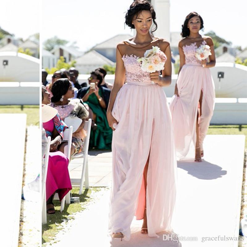 Pink Chiffon Long Bridesmaid Dresses Illusion Top A-Line Leg Slit Formal Dresses for Wedding Guests Lace robe demoiselle honneur
