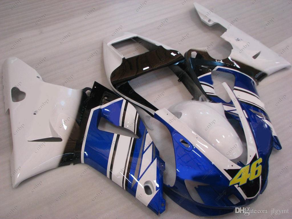 Kits de cuerpo del carenado del ABS YZF R1 98 para YAMAHA YZFR1 1999 azul blanco Todo el cuerpo kits YZF1000 R1 99 1998-1999