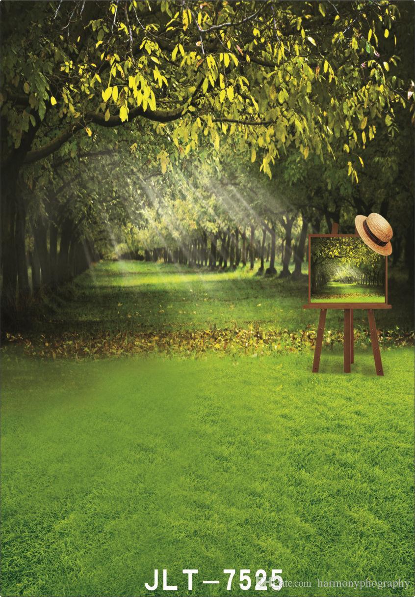 pittoresque printemps vert prairie planche à dessin mariage enfants vinyle arrière-plans pour photo studio accessoires bébé toiles de fond pour la photographie