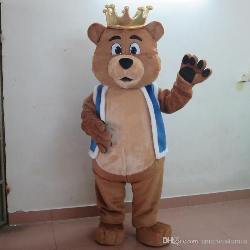 sm0511 100% real photos of brown bear mascot costume with crown for adult to wear for sale