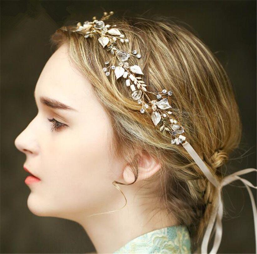 Vintage Hochzeit Braut Kristall Stirnband Band Strass Krone Tiara Haarband Schmuck Gold Blatt Perlen Haarschmuck Kopfschmuckstück