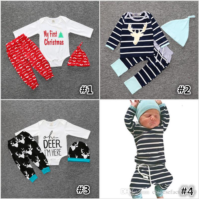 christmas xmas winter outfits set baby girls boy deer moose tops t shirt romper deer