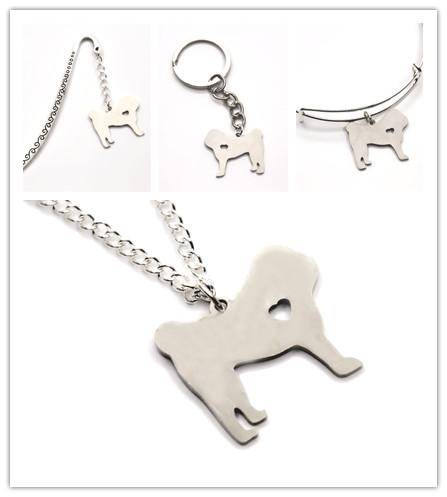 Pug dog NECKLACE charm heart cute dog pet i love dogs charm pendant necklace bangle keyring bookmark