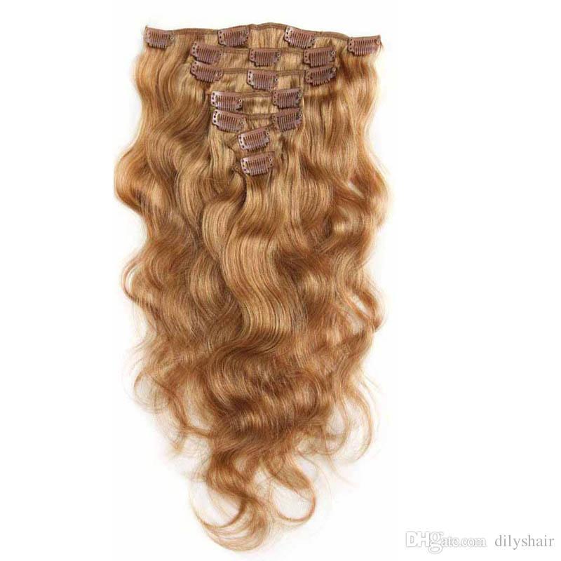 7A 100% de la Virgen extensiones del pelo humano clip en cuerpo de Remy del pelo de la onda cabeza completa Strawberry Blonde