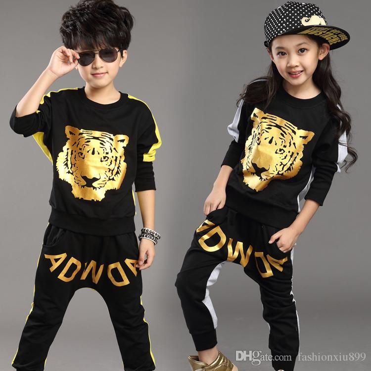 Tiger Printed Boys Girls Clothing Set 2019 Nueva marca de moda Traje deportivo Sudaderas Harem Pantalones Niños Hip Hop Ropa 3 colores