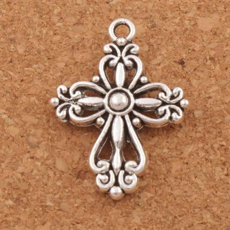 FILIGREE FLOWER CROSS Religioso espaciador encanto perlas 100 unids / lote antiguo plata colgantes aleación Hecho a mano Joyería DIY L425 20.5x27.9mm