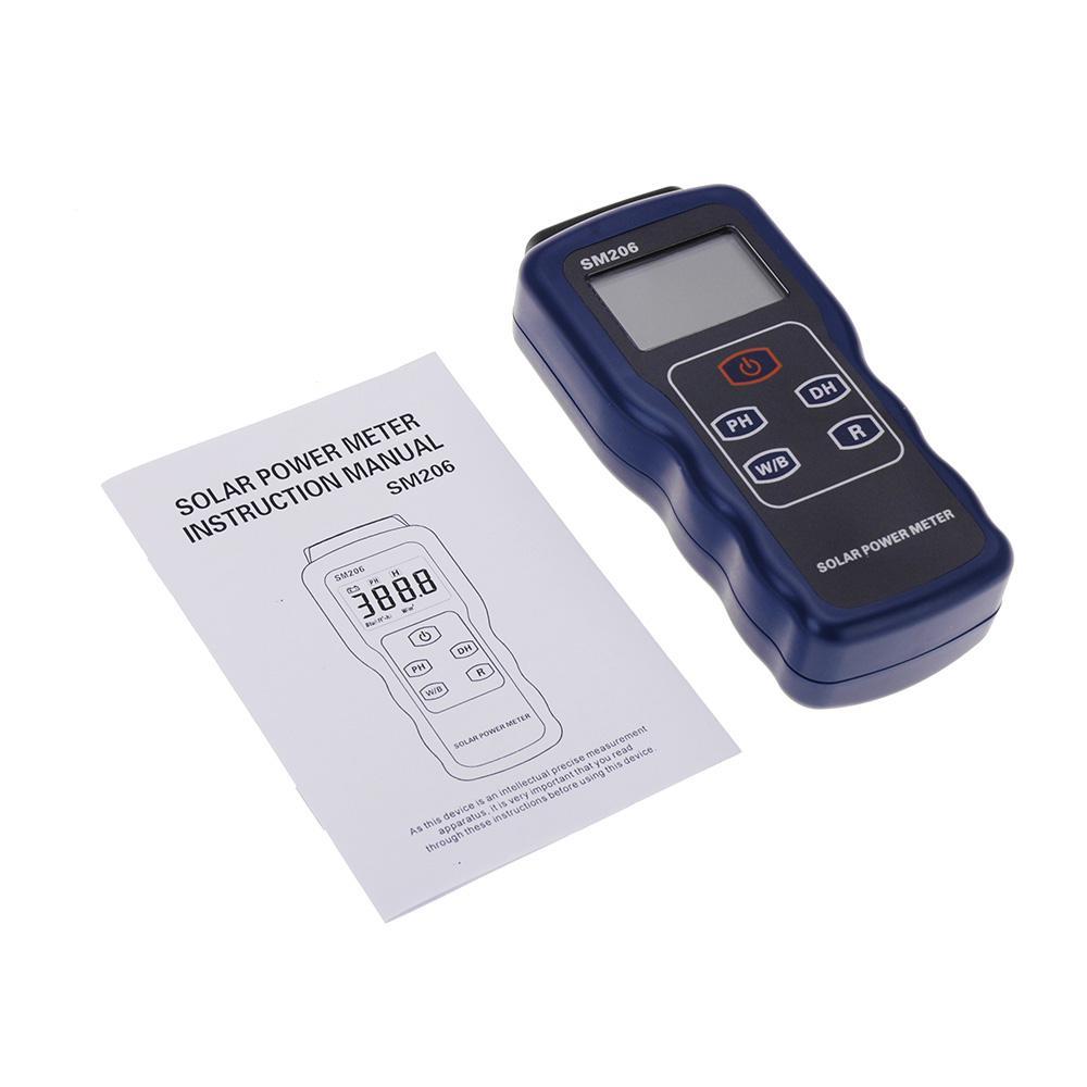 Solar Power Meter Light Meter Data Hold And Peak Hold For Solar Radiation Tester SM206 Glass Light Intensity