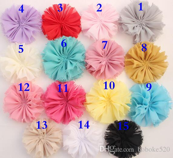 "50pcs/lot 2.9"" shabby Chiffon Flower head Tulle Lace Flowers baby gilrs hair accessory DIY, Fabric flowers Headwear"
