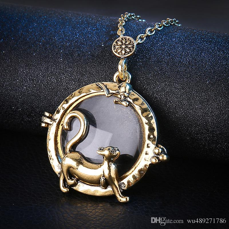 Vintage Magnifying Glass Pendant Necklace Lovely Cat Pocket Watch Time Collar Collier Statement Necklace Women Jewelry
