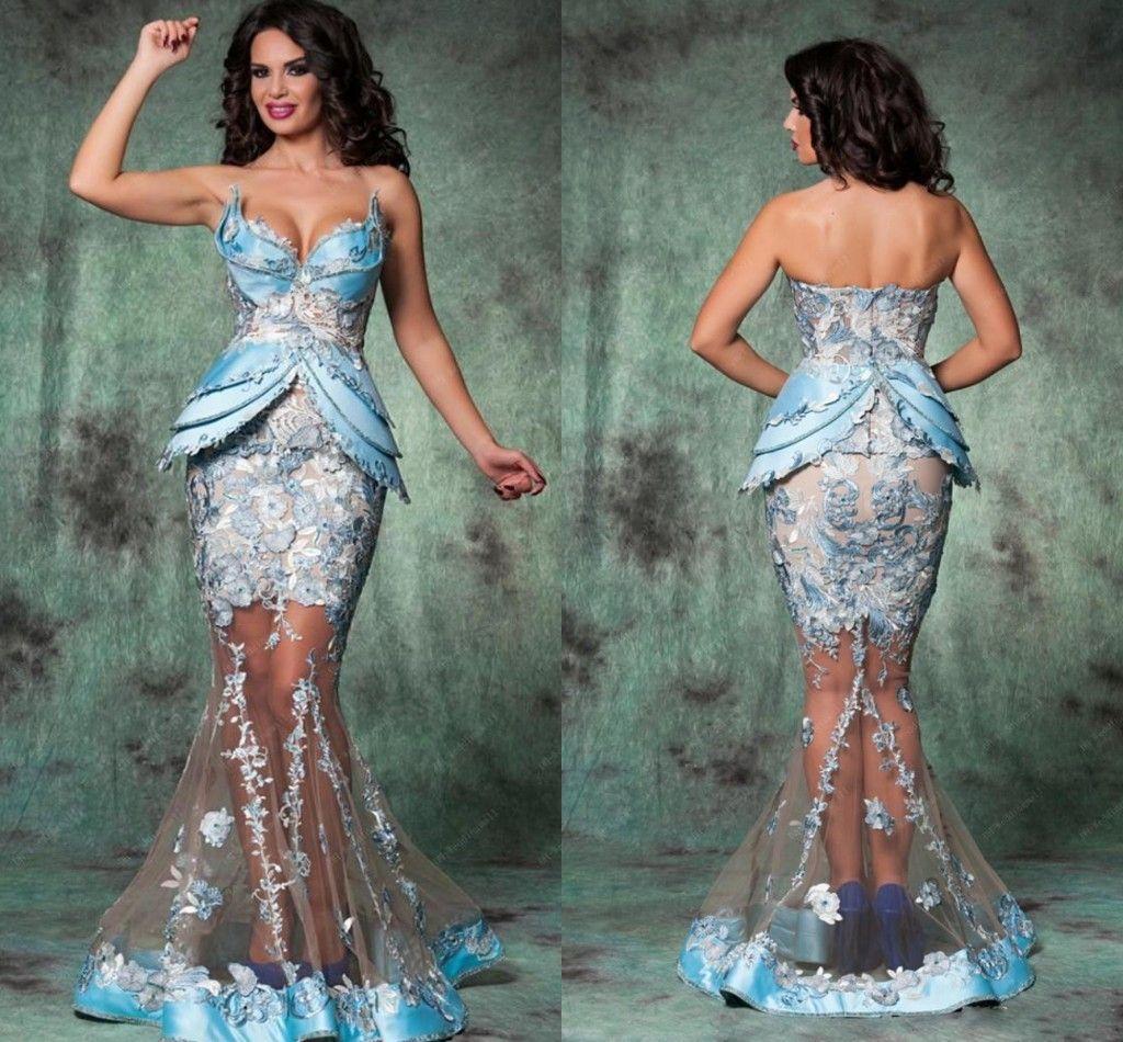 Großhandel Real Show Sexy Arabisch Dubai Abendkleider Formale Kleid  Meerjungfrau Appliqued Satin Schößchen Rock Abendkleid Party Lange Gonws  ADE9