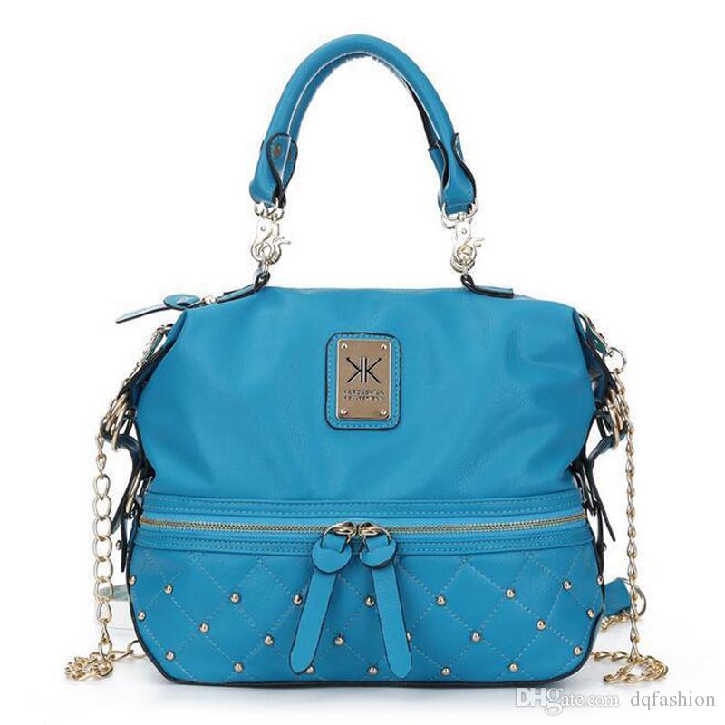 HOT Sale Kim Kardashian Kollection KK Shoulder Bag Designer Brand Bag Handbags Women Rivet Fashion Bucket Gold Chain Messenger Bags