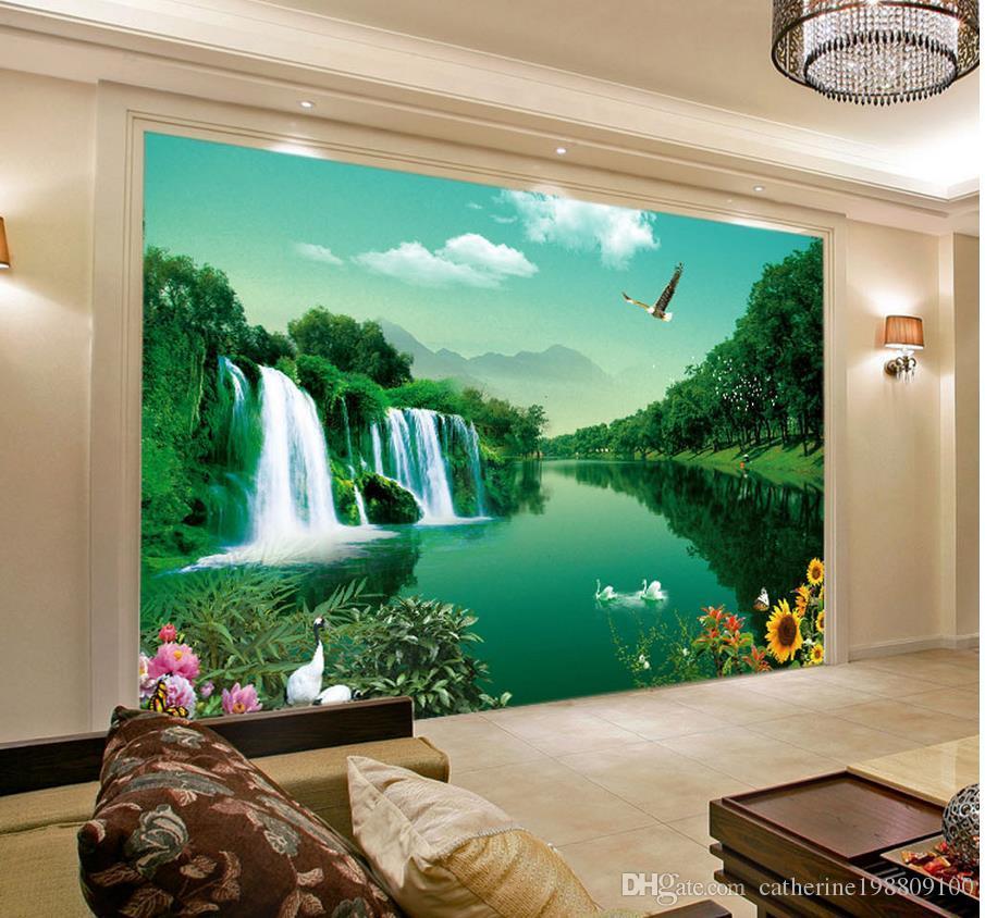 Popolare verde e desolato moda paesaggio paesaggio murale 3d carta da parati 3d carte da parati per tv sullo sfondo