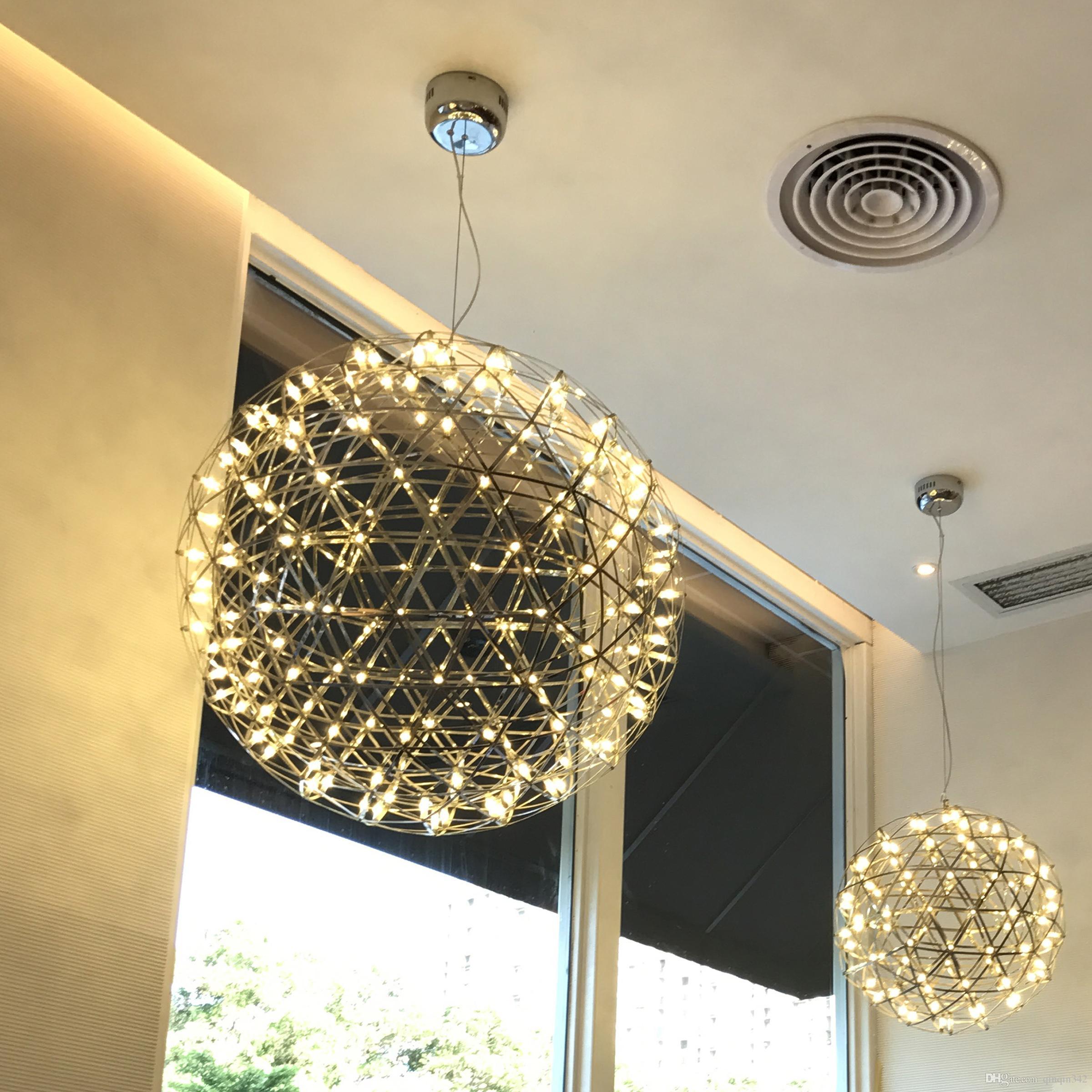 Großhandel moderne Wohnzimmer Pendelleuchte Edelstahl Kugel führte Feuerwerk Licht Restaurant Villa Hotel Projekt Beleuchtung von qinqin342