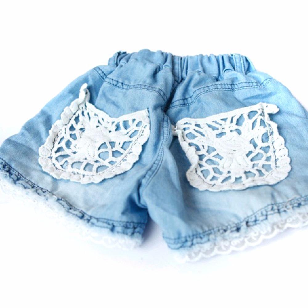 Baby Girls Cowboy Shorts Jeans Lace Pocket Demin Cool Summer Hot Pants 1-6Y