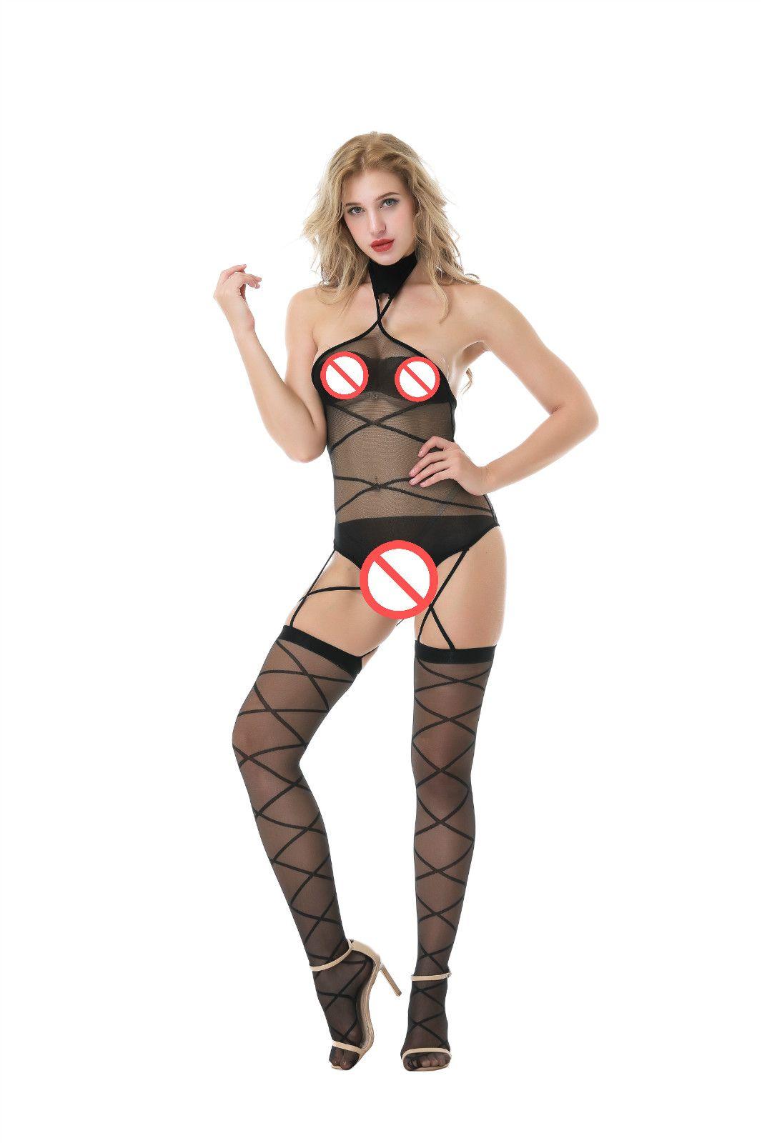 Бесплатная доставка хорошее качество сексуальные женщины леди экзотические белье открыть промежность Холтер женщины ажурные Bodystockings открытой спиной спинки чистой боди