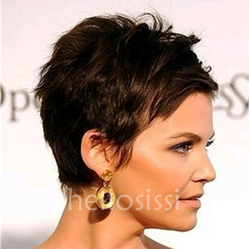 Short Bangs Short Human Natural Hair Wigs Pixie Cut Black Natural peruvian Hair Short Cut Wigs For Black Women None Lace Wig