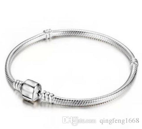 Heißer Verkauf Unisex Hochwertige dreischichtige dicke Silber-Plattierung Schlangenkette-Kollokationsperlen Wartung Farbarmband B15001A