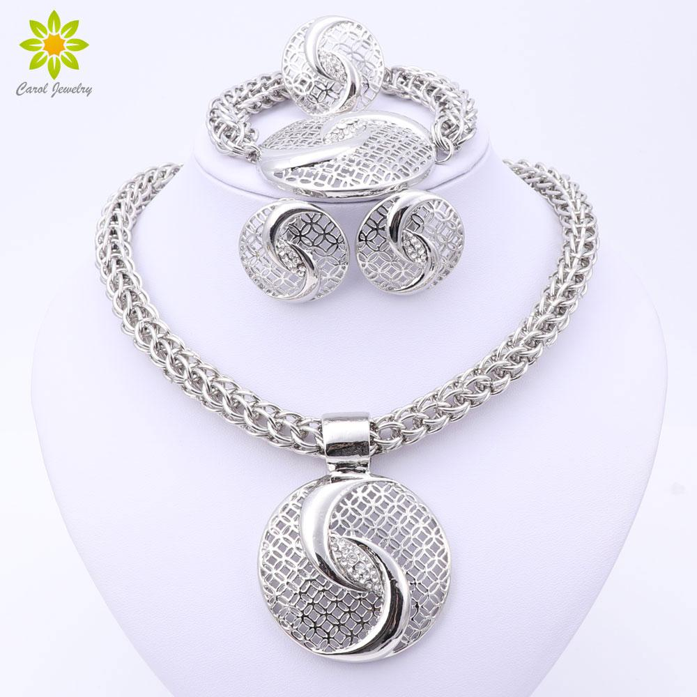 2017 Latest Luxury Big Dubai Silver Plated Crystal Necklace Jewelry Sets Fashion Nigerian Wedding African Beads Costume Jewelry