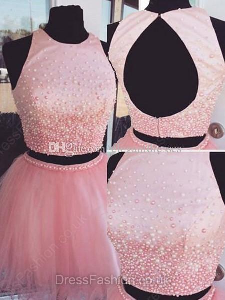 Новые две части платья возвращения на родину 2017 короткие платья выпускного вечера жемчуг бисером сладкие 16 платьев