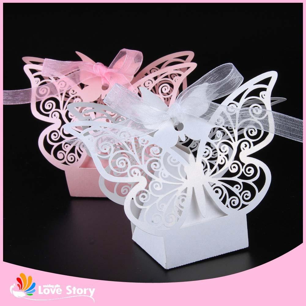 100pcs Butterfly Laser Cut Candy Box Wedding Favor Box Wedding
