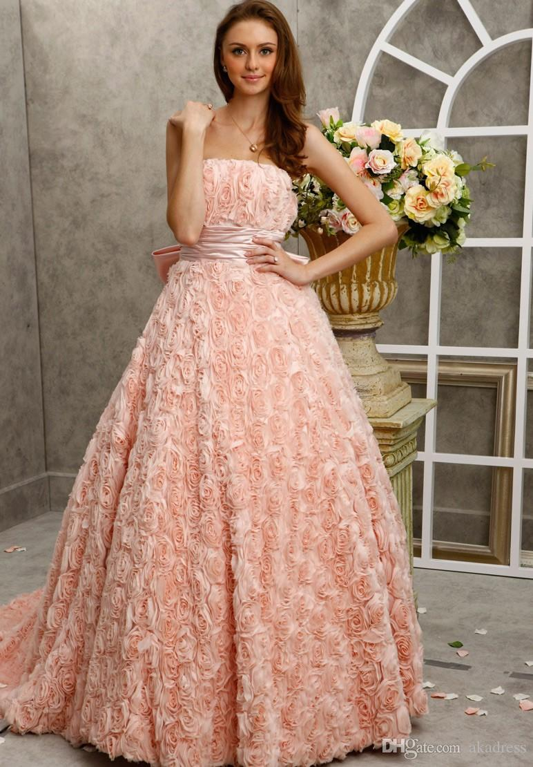 Graceful Vintage Peach Wedding Dresses Ball Gowns 2017 Strapless ...