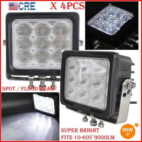 """DHL 4PCS 6 """"90W CREE Chips conducción LED luz de trabajo 9LED * 10W Offroad SUV ATV 4WD Spot lápiz / inundación propagación Haz 9000LM pesado SUPER brillante"""