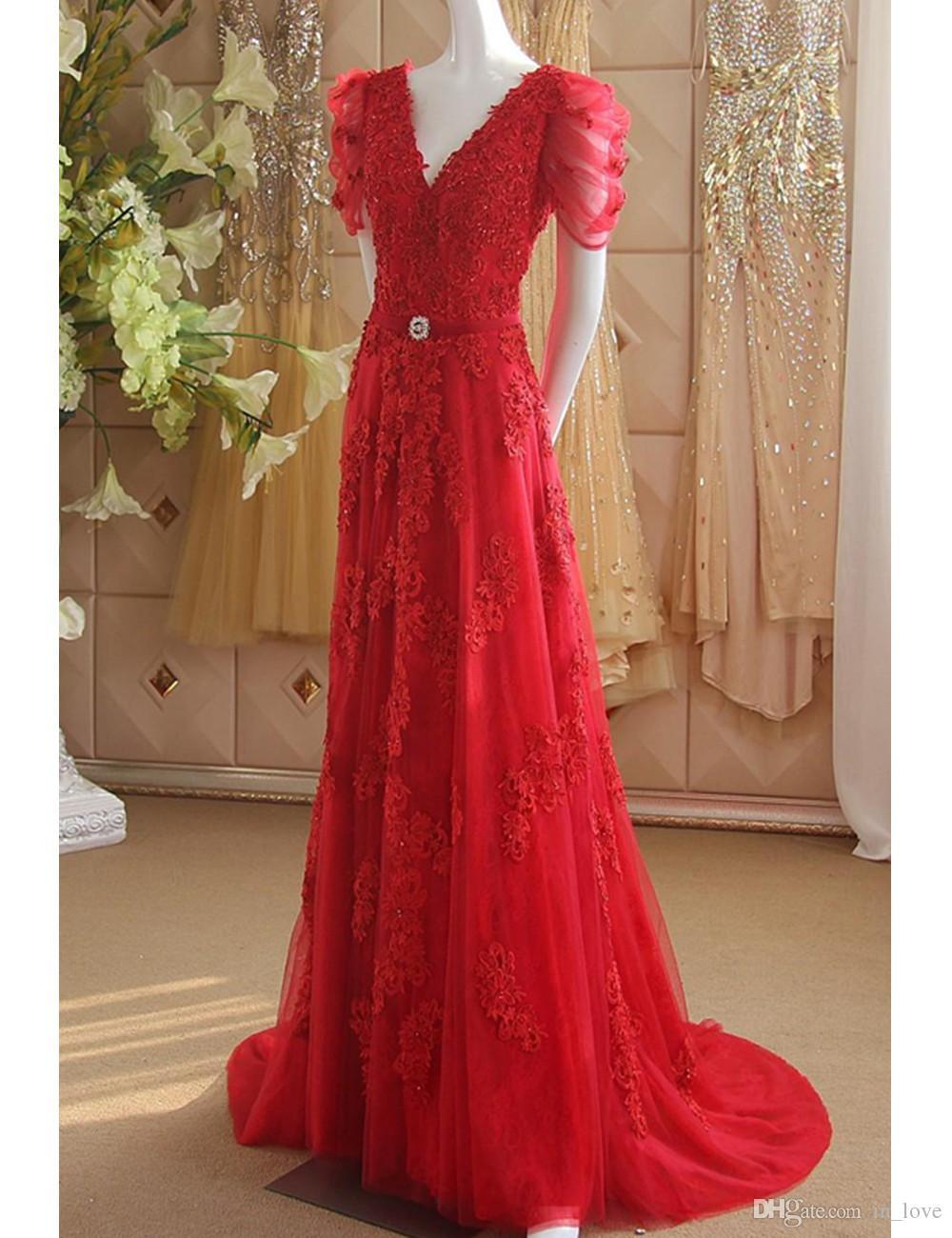Großhandel Rote Lange Abendkleider Kurzarm Rückenfrei V Ausschnitt Perlen  Applikationen Spitze Tüll Bodenlangen Roter Teppich Formale Kleider