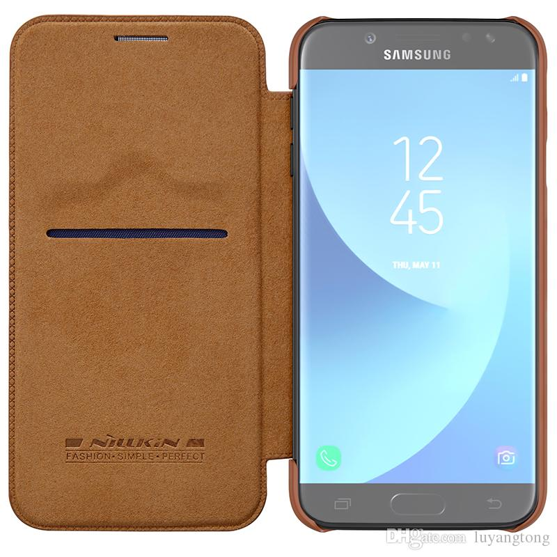 free shipping d550a eb9be For Samsung Galaxy J7 Pro Case Original Nillkin Qin Pu Flip Leather Case  Cover For Samsung J7 2017 J7pro Phone Bags Cases Cell Phone Case Wallet  Cell ...