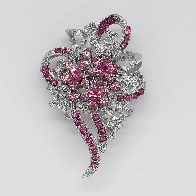 En gros De Mode Strass Broche Pin Demoiselle D'honneur De Mariage De Mariée Partie Fleur forme Broches Bijoux Accessoires C078