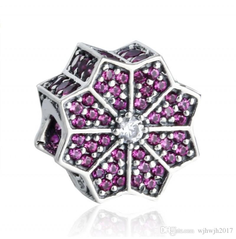 New Poinsettia Charms Bead Authentic 925 Sterling Silver Red Clear Crystal Floral Charms For Brand Bracelets DIY Jewelry Making Accessories