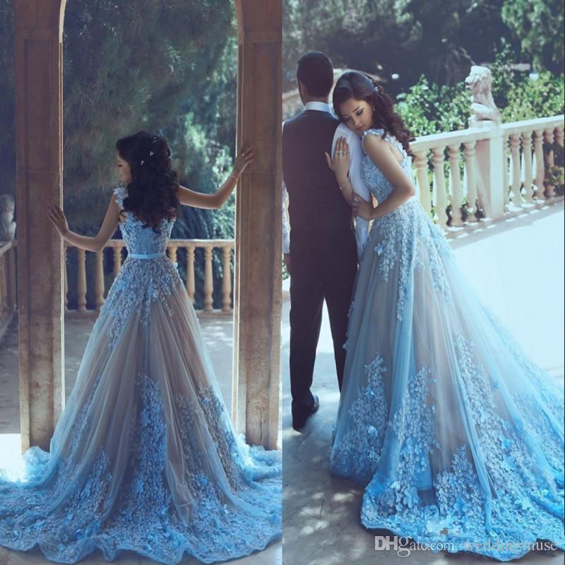 Dubai New Elegant Blue Prom Dresses Vestidos De Fiesta 3D floral Appliques A-line Prom Evening Gowns with Belt