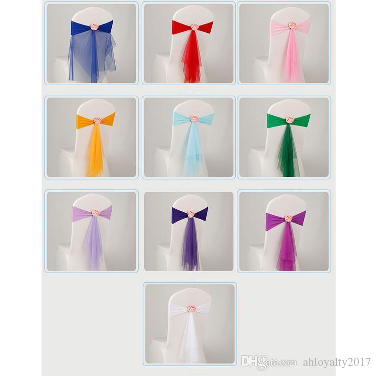 Bowknot Designed Chair Ribbon No-tie Bow Sash Wedding Hotel Banquet Chair Cover Chair Bands Back Decoration