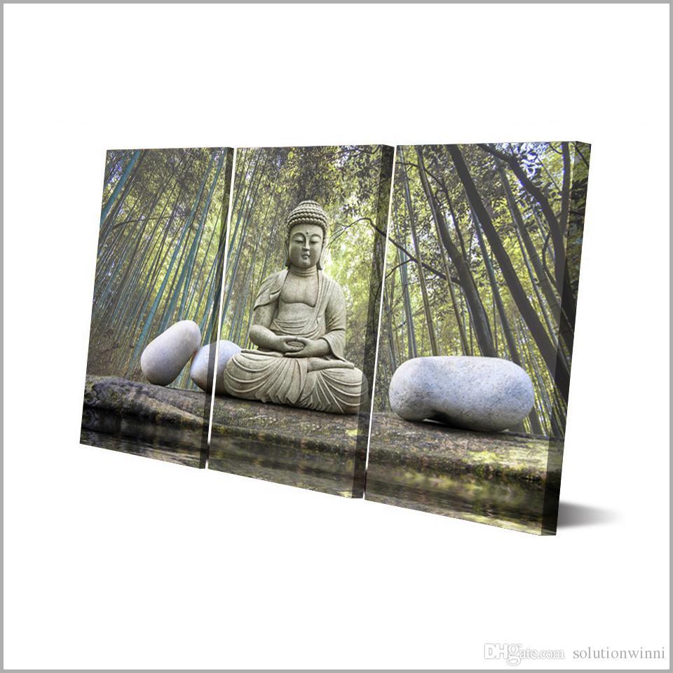 Buddha Stone Bamboo Forest 3 pcs HD Modern Art Poster Home Decor Canvas Print