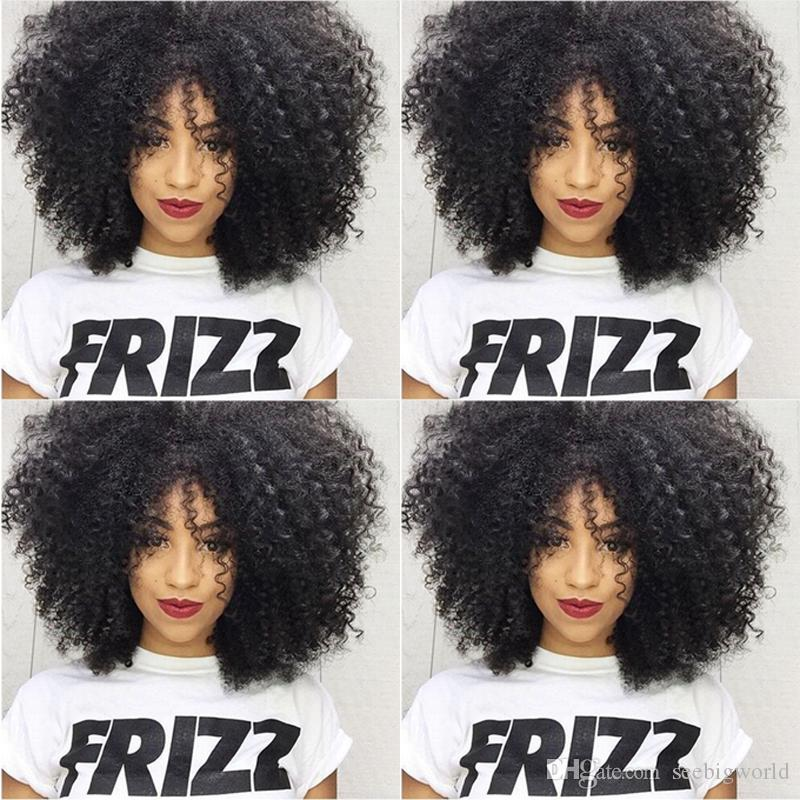 Afro Kinky Curly Full Wig Simulation Human Coiffures Kinky Curly Perruques complètes Livraison Gratuite En Stock