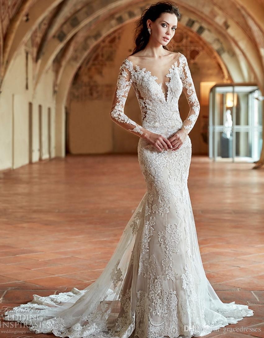 2017 Bridal Gown Long Sleeves Off The Shoulder Deep Plunging V Neck ...