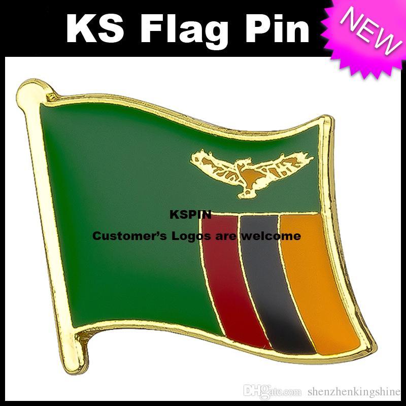 Distintivo 10pcs della bandiera del distintivo della bandierina dello Zambia trasporto libero KS-0214