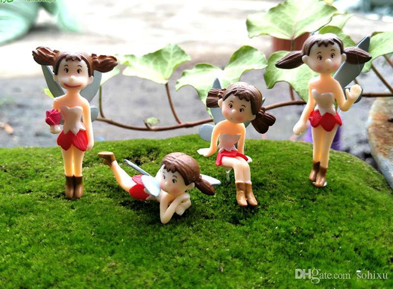 4 stücke Fliegen Xiaomei Figuren Flower Fairy Garten Dekoration Terrarium Miniaturen Baison Werkzeuge Kunst Handwerk Gartenzwerge Wohnaccessoires
